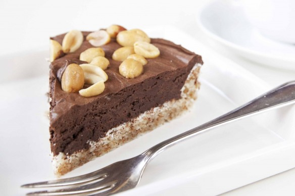 mandelterte med sjokolademousse